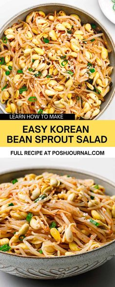 So tasty and easy to make! If you love Korean food, you've probably eaten this Korean bean sprout salad before. It's one of the most staple Korean side dishes (banchan, 반찬). It is usually served along with Korean spinach salad and japchae to go with your bibimbap, bulgogi, or any other bbq meat. #korean #sidedish #recipe #salad #beansprout Bean Sprout Salad, Bean Sprout Recipes, Sprouts Salad, Bean Sprouts, Spicy Recipes, Asian Recipes, Whole Food Recipes, Ethnic Recipes, Spicy Korean Chicken