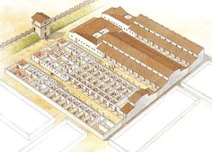 """Legionary barrack block at Noviomagus (Nijmegen), c. Architecture Drawings, Historical Architecture, Ancient Architecture, Rome Buildings, Ancient Buildings, Ancient Rome, Ancient History, Deer Hunting Decor, Roman Armor"
