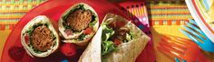 """Kids will love to make their own dinner, working their way through the """"burrito assembly line! """"You'll love the fact that each burrito has all 4 of Canada Food Guide food groups represented! Grilling Recipes, Beef Recipes, Group Meals, Food Groups, Canada Food Guide, Ground Sirloin, Whole Wheat Tortillas, Grilled Beef"""