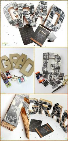 Self-Made Graduation Party Photo Collage 50 DIY Graduation Party Ideas & Decorations Page 3 of 4 DIY & Crafts Grad Party Decorations, Graduation Party Centerpieces, Graduation Party Planning, College Graduation Parties, Graduation Celebration, Graduation Party Decor, Graduation Ideas, Diy Graduation Gifts, Grad Parties
