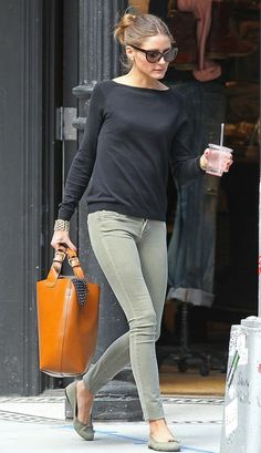 Olivia Palermo shows us how to work the subtler shades into your style with the Paige Denim Verdugo Jegging in Crete Olive.