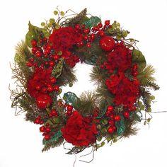 Grande Red Hydrangea Wreath 26 Inch