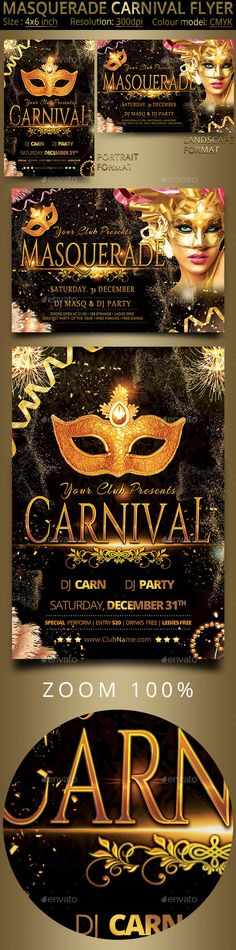 Masquerade Carnival Party Flyer Template PSD #design Download: http://graphicriver.net/item/masquerade-carnival-party-flyer/13692830?ref=ksioks