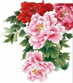 Oriental Flowers, Chinese Flowers, Japanese Flowers, Japanese Art, Japan Painting, China Painting, Peony Painting, Silk Painting, Peony Flower