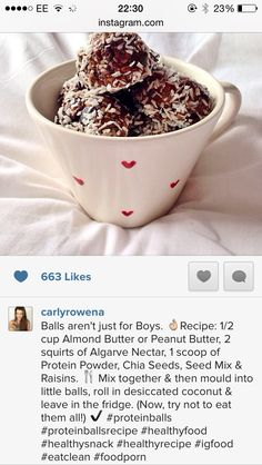 Carly Rowena's healthy protein ball recipe Almond Butter, Peanut Butter, Carly Rowena, Cooking Recipes, Healthy Recipes, Protein Ball, Healthy Protein, Healthy Eating, Healthy Food