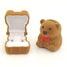 Velvet Bowknot Bear Box Case Hot Ring Earring Bracelet Jewelry Display Charming    eBay