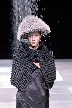 COMME DES GARCONS RUNWAY 3D CAPE SHAWL DRESS