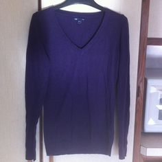 Lightweight cotton blend sweater Dark purple thin 60/40 cotton poly blend sweater. V-neck long sleeved slim line. Super comfy. Machine wash and dry!  Perfect for cooler fall temps. GAP Sweaters