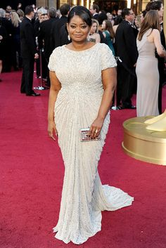 ae21b3637d Actress Octavia Spencer looking glamorous in a white Tadashi Shoji gown on  the red carpet at the Annual Academy Awards. I m so happy that Octavia won  for ...