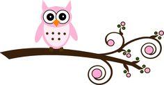 Cute Owl Stencil | Pink Owl On Branch clip art - vector clip art online, royalty free ...