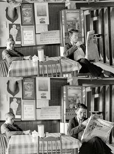 February 1939. Boys sitting at table in restaurant, Raymondville, Texas.