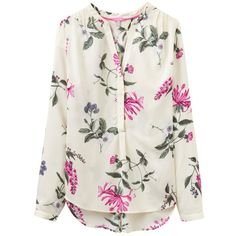 Joules Rosamund Printed Blouse, Cream Hedgerow (4.960 RUB) ❤ liked on Polyvore featuring tops, blouses, floral tops, v-neck tops, long sleeve v neck top, v neck blouse and long sleeve blouse