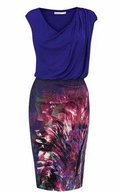 Karen Millen Tropical Print Jersey Top Dress Blue&Multi - suit-dresses.com - $80.71