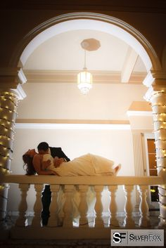 A romantic and intimate pose for the bride and groom