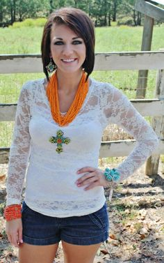 Long Sleeve Lace Blouse - Antique White $13.95-$20.95 www.gugonline.com