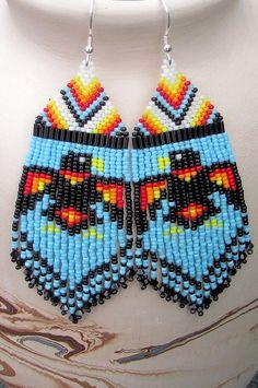 Long Raven Earrings  Seed Bead Raven by CreationsbyWhiteWolf,