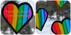 Here's a super easy way to decorate your abode for the upcoming day of LOVE…     Rainbow Heart Transparencies     To make your own you ...