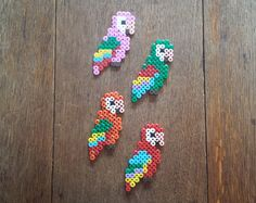 Individual Parrot Hama Bead Magnet - variety of colours
