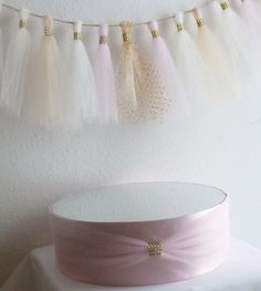 blush pink satin gold bling mirror wedding cake stand faux rhinestone accent tulle sash round cupcake cake pop holder display baby shower