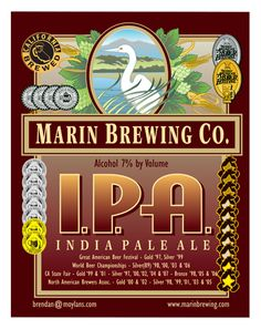 Marin Brewing Company IPA - This is the quintessential interpretation of the West Coast Style IPA. The aroma, color, malt balance, and bittering are perfect and eminently drinkable. There isn't an element that overshadows another, and it's an excellent baseline by which to enjoy other IPAs.