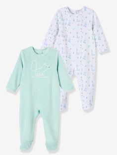 Lote de 2 pijamas de terciopelo bebé BLANCO ESTAMPADO + VERDE AGUA/