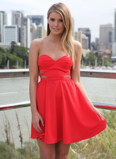 Red Strapless Cutout Side Dress with Plunging Bodice Top