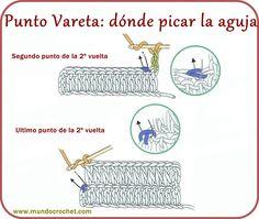 Punto Vareta o Punto Alto - Mundo Crochet - Teresa Restegui http://www.pinterest.com/teretegui/ ✔