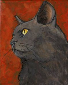Black Cat on Overlaid color Looking up cat art by LadybugArtStudio