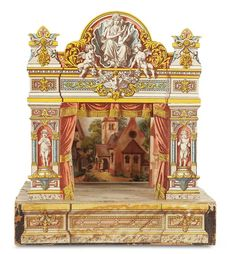 """Charming Petite Theatre Attributed to Hermann Kurtz 20""""h.,x 17""""w. x 12""""d. The wooden-framed theatre with lithographed paper designs of an...http://www.theriaults.com/"""