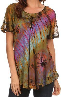 Sakkas Splenka Long Tie Dye Embroidered Corset Neck Cap Sleeve Blouse Shirt Top