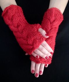 Fingerless Gloves Cabled Wrist Warmers Red Warm Rustic Handknit in Natural Wool and Mohair Wrist Warmers, Hand Warmers, Seed Stitch, Fingerless Gloves, Hand Knitting, Rustic, Wool, Pattern, Red