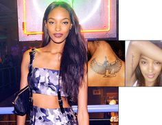 """Jourdan Dunn - Dunn has Isis, the Egyptian goddess of love, tattooed on her upper back and the phrase """"You owe it to yourself, set the world on fire"""" along the inside of her right arm."""