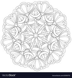 Adult coloring bookpage a zen mandala image for vector image on VectorStock Nativity Coloring Pages, Mandala Coloring Pages, Free Coloring Pages, Coloring Books, Easy Drawings Sketches, Trippy Drawings, Geometric Mandala Tattoo, Mandala Tattoo Design, Mandala Art Lesson