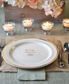 10 In. Personalized Gold Trim Plastic Dinner Plates (Set of 25) & Elegant Disposable Place Settings | Pinterest | Elegant Crystals ...