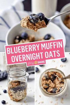 All the blueberry muffin flavor, but much less effort and a healthier alternative for breakfast! Only 5 minutes of prep before you let the fridge do the rest of the work overnight, and the next morning it can be served cold or warm. | blueberry muffin overnight oats | blueberry overnight oats | easy breakfast | quick breakfast | stress baking recipes | stressbaking.com @stressbaking #stressbaking #breakfast