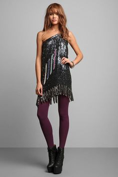 Luxury Jones for Urban Renewal Black Sequined One-Shoulder Dress   #UrbanOutfitters