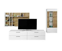 Ensemble de 3 meubles MEDIA, bois et verre - blanc et naturel