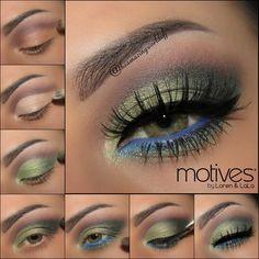 Green Pop look by Theamazingworldofj using ALL Motives! We're specially loving the blue eyeliner using Motives for La La Mineral Khol Eyeliner in Myst