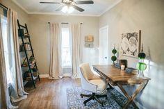 Office || Canvas map above desk available at shop.magnoliahomes.net #MagnoliaMarket #MagnoliaFarms #FixerUpper #JoannaGaines