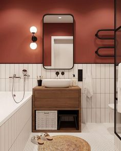 modern home accents minimalist apartment bathroom design Apartment Bathroom Design, Modern Bathroom Design, Bathroom Interior Design, Minimal Bathroom, Minimalist Bathroom Design, Bathroom Designs, Orange Bathrooms Designs, Red Interior Design, Interior Modern