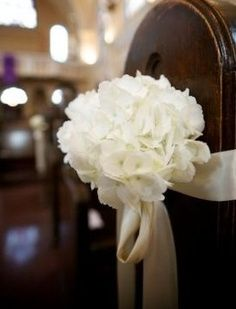 pinterest elegant wedding ceremony decorating ideas | pew decor, hydrangeas, wedding flowers, ceremony decor,add pic source ...