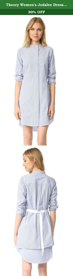 Theory Women's Jodalee Dress, Blue/White, 0. A dress-striped Theory dress in crisp cotton poplin. An adjustable grosgrain belt cinches in front, and a patch pocket completes the menswear-inspired profile. Slim band collar and concealed button placket. Long sleeves and 2-button cuffs.