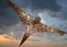 Manu Aute kite  2010  painted nylon, fiberglass frame  18' wingspan, 20' long   Stylized version of the ancient bird man kite of the Maori of New Zealand.