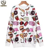 Spring Women Cotton Pullovers 2015 Casual Fashion Brand Korean Style Cheap White Long Sleeve Food Print Loose Sweatshirt