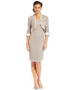 R&M Richards Sleeveless Lace Sheath and Jacket - Dresses - Women - Macy's