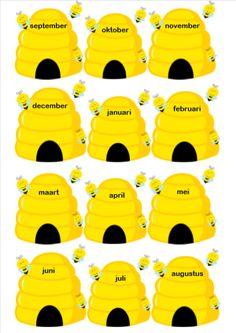 Verjaardagskalender bijen Dinosaurs Preschool, Preschool Activities, Kindergarten Classroom, Classroom Themes, Weather Vocabulary, Back To School Crafts, School Posters, Bee Theme, Working With Children