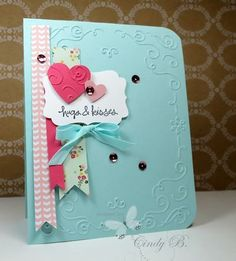 I paired the birght shade of Pool Party with the patterned papers. The Filigree Frame Embossing Folder