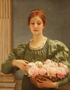Charles Edward Perugini 'Peonies' 1887 oil on canvas Charles Edward Perugini [Italian-born English painter of the Victorian era, 1839 – 1918] Son-in-law to Charles Dickens