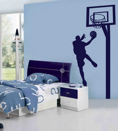 Blue Wall Themes with NBA Basketball Wall Murals for Boys Bedroom Wall Art Designs