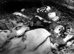 Warsaw, Poland, Bodies of children and adults.